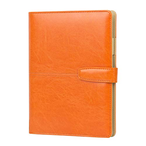 Refillable Journal with Pen Holder Orange PU Soft Cover Leather Journal Travelers Lined A5 Planner Binder 6 Ring The Circular Ring (Orange)
