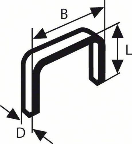 Bosch 2609255836 Set de 1000 agrafes /à fil plat Type 52 Largeur 12,3 mm Epaisseur 1,25 mm Longueur 8 mm