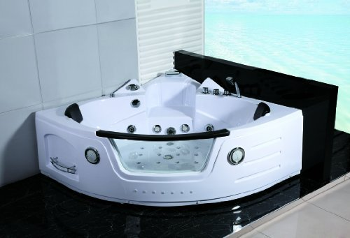 2 Two Person Whirlpool Massage Hydrotherapy White Corner Bathtub Tub with BLUETOOTH UPGRADE, Rem ...