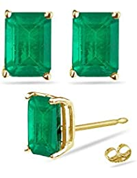 0.86-1.28 Cts of 6x4 mm AA Emerald Cut Natural Emerald Stud Earrings in 18K Yellow Gold