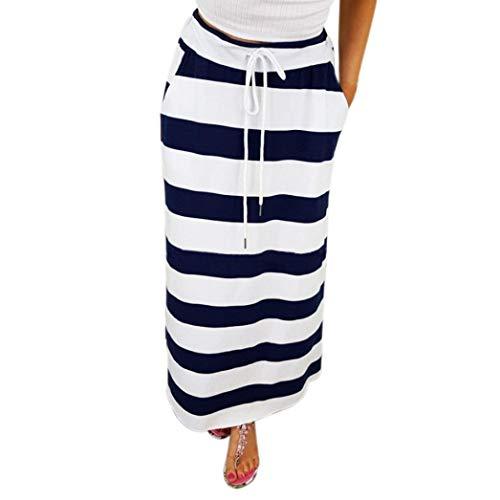 Sinfu Womens Fashion Stripe Hight Waist Waistband Tied Maxi Long Skirt (S:Waist:62-74cm/24.4-29.1