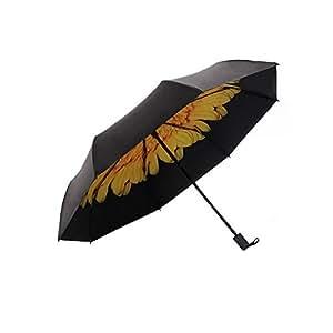Doble Capa Compacto Tres Veces Protector Solar Anti-UV Vinilo Revestimiento Reforzado A Prueba De Viento Marco Impermeable Viajes Soleado Paraguas,Yellow