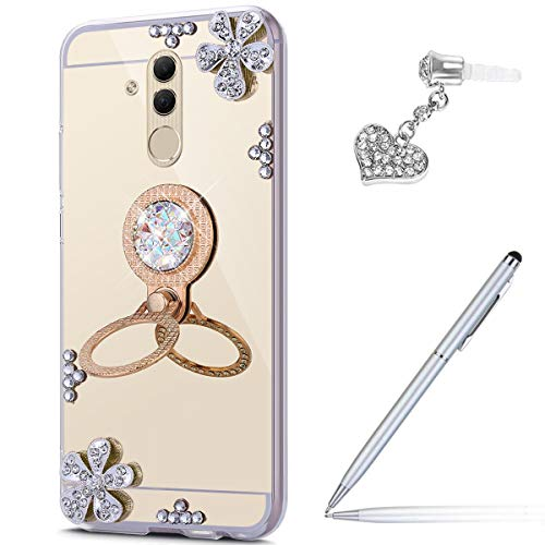 Price comparison product image Case for Huawei Mate 20 Lite Diamond Case, Crystal Inlaid diamond Flowers Rhinestone Glitter Bling Mirror TPU Case & Ring Stand Holder + Touch Pen Dust Plug for Huawei Mate 20 Lite Mirror Case, Gold