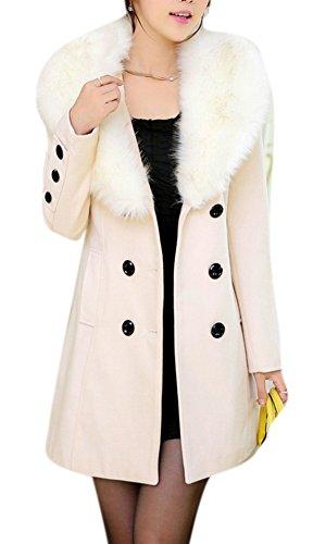 Youtobin Women's Winter Faux Warm Wool Double Collar Pea ...