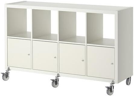 IKEA KALLAX - estantería/4 puertas/ruedas, blanco: Amazon.es ...