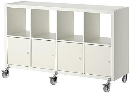 IKEA Kallax - Estanterías unidad / 4 puertas / ruedas, blanco ...