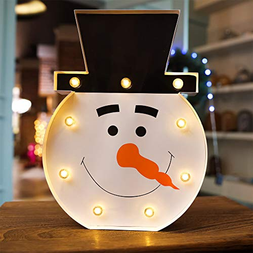 Keeplus Christmas Snowman LED Night Light Table Lamp for Party Birthday Wedding Atmosphere, Battery Operated Decorative Marquee Signs Light for Bedroom and Wall Decoration (A) -