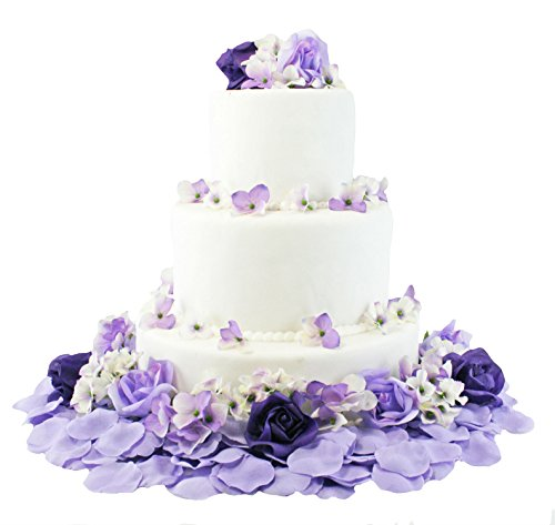 Purple and Lavender Hydrangea Rose Cake Flowers -