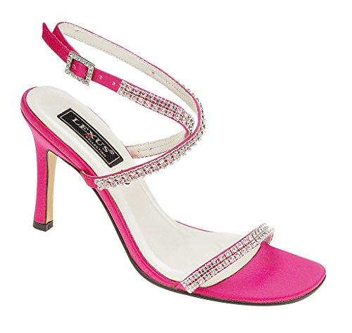 a Sandalo Donna Tacco Fucsia Fishnet Colore spillo rosa strass in notte donna Moda da tacco Prom con FTyxzqFr0w