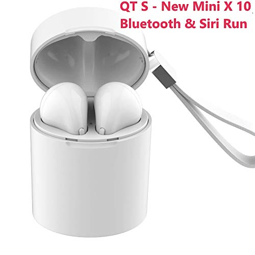 QT S Mini X 10 TWS Stereo V 5.0 Bluetooth Siri Run Earbuds Wireless Headset Water & Noise Prof, Micro Headphone for Compatible Bluetooth Devices with Charging Box/Case (White X 10 Mini)