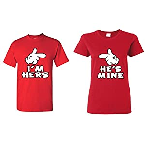 shop4ever Cartoon Hands I'm Hers – He's Mine Couples Matching T-Shirts