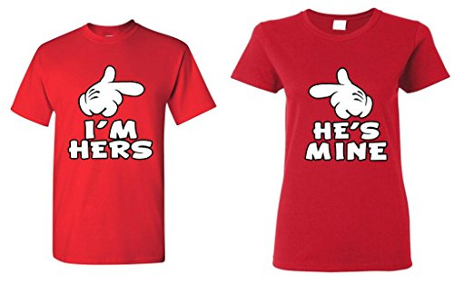 Shop4Ever Cartoon Hands I'm Hers - He's Mine Couples Matching T-Shirts - Men XL Red//Women Large Red (His And Hers Cartoon Shirts)