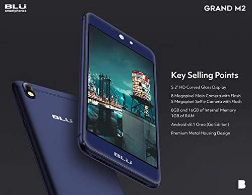 Blu Grand M2 2018 Unlocked Android V.8.1Oreo(Go Edition) Cell Phone 16GB+1GB RAM (Blue)