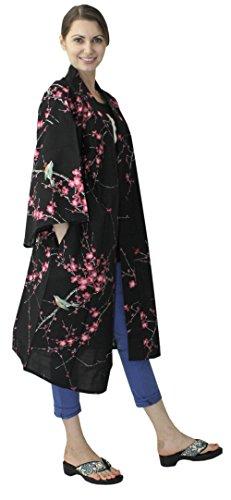 Japanese Women's Kimono Robe Happi Coat Dress Cotton Bird Plum Black by Kimono Japan (Image #2)