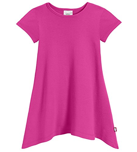City Threads Girls' Shark Bite Short Sleeve Tunic Top Blouse Shirt Stylish Modern All Cotton for Sensitive Skins SPD Sensory Friendly, Hot Pink, 8]()