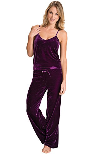 - PajamaGram Women's Velour Cami Pajama with Tank Top and Pants, Amethyst, XLG 16