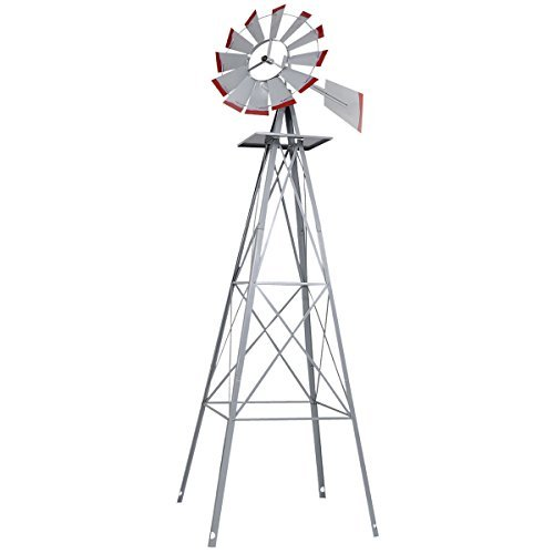 New 8Ft Tall Windmill Ornamental Wind Wheel Silver Gray And Red Garden Weather (Weather Bearings)