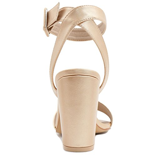 Allegra K Women's High Heel Ankle Strap Sandals Gold-1 xeRQNPsq4t
