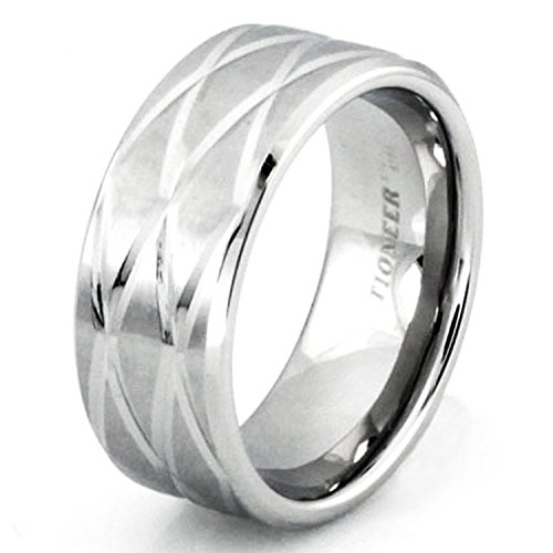 9 MM Stainless Steel Cross-Cut Beveled Groove Wedding Band Ring, Size 8 ()