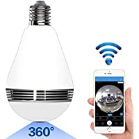 Bysameyee WIFI Concealed Dome Camera Light Bulb, 360° Wide Angle Panoramic IP Camcorder Nanny Cam, Movement Alarm Real-time View Video Recorder for Home Security Monitoring