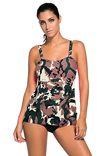 - Prime Leader Womens Sexy Camouflage Print 2pcs Swing Tankini Swimsuit,S