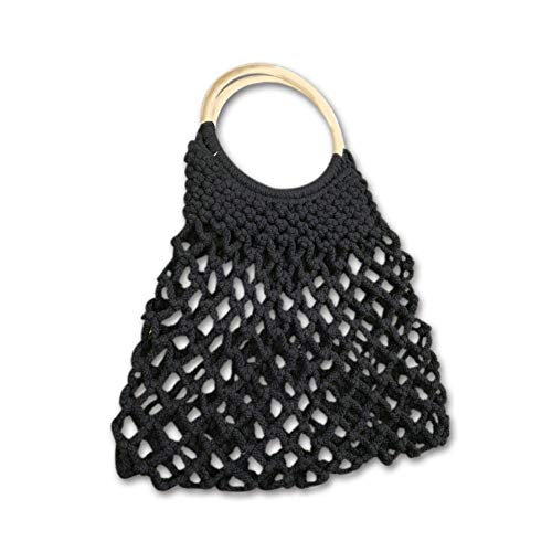 main mode 2018 iBaste plage sac occasionnel femme Noir la sac sac à sac coton bandoulière creux à été tissé EdqPw1qr