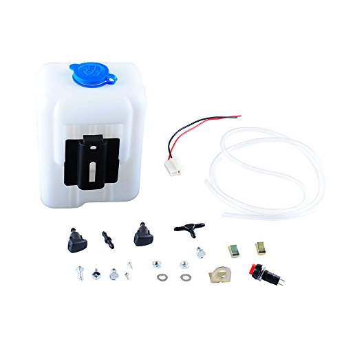 Wadoy Universal Windshield Washer Pump Reservoir Kit 99300 Fluid Reservoir Tank Bottle with Pump Windshield Washer Pump Connector