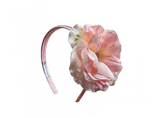 Jamie Rae Hats Candy Pink Hard Headband with Pale Pink Large Rose, One Size (Jamie Headband Rae Hats)