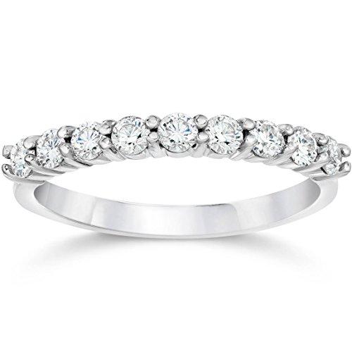 Gold Half Eternity Diamond - 1/2ct Diamond Wedding Ring Half Eternity Wedding Band 14K White Gold - Size 5.5