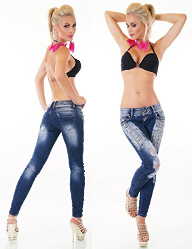 Crash-Jeans im glamourösen Worker-Style mit Lochnieten und Strass - dark blue