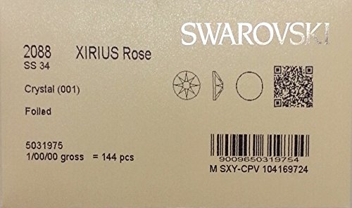 34ss Crystal CLEAR 144 SWAROVSKI #2088 XIRIUS Rose Flatback Rhinestones Wholesale FULL Pack