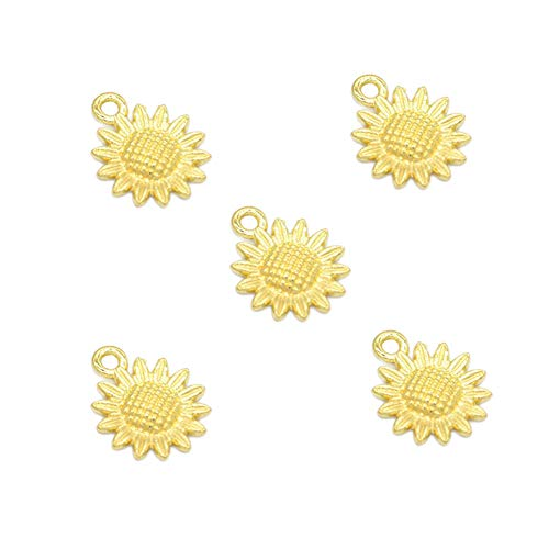 50pcs Vintage Antique Gold Alloy Sunflower Charms Pendant Jewelry Findings for Jewelry Making Necklace Bracelet DIY 18x15mm (50pcs Gold) ()