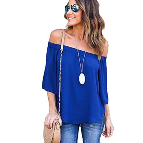 FNKDOR Las mujeres de la moda de hombros Tops camisa de manga larga Casual blusa suelta camiseta Azul