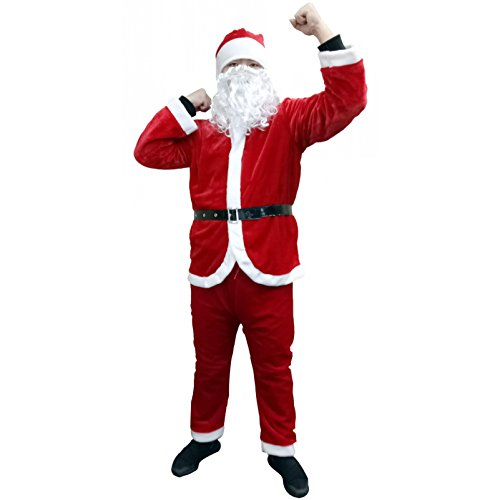 Warmoor Christmas Santa Claus Suit, Adult Men's Santa Costume With Beard, Holiday Cosplay Clothes Sets (Red)
