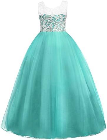 6abd2073e46 Little Big Girls  Tulle Dresses 7-16T Flower Lace Pageant Party Wedding  Bridesmaid Floor