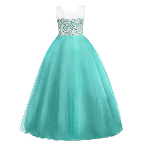 Flower Girl Dresses Teal (IWEMEK 5-16T Little Big Girls Floor Length Lace Tulle Bridesmaid Dress Flower Wedding Pageant Party Prom Long Maxi Evening Dance Gown, Turquoise,)