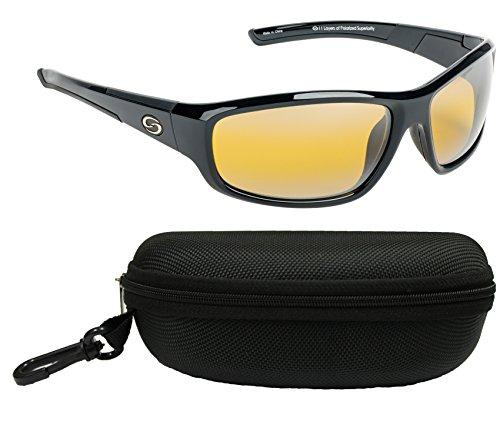 (Strike King SG-S1175-CS S11 Optics Polarized SG Bristol Bundle, Shiny Black Frame with Cloud Yellow Lens, with Black Case)