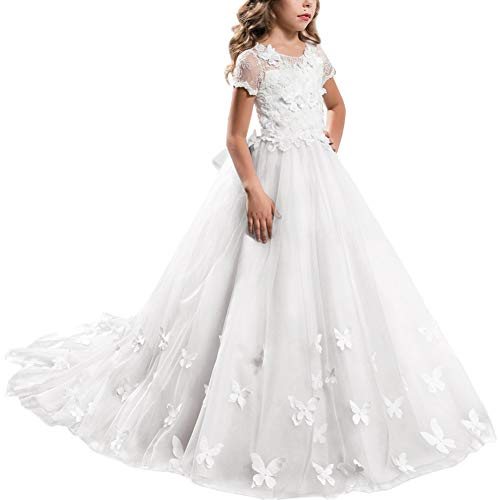(Princess White Long Girls Pageant Dress Kids Prom Puffy Tulle Ball Maxi Gown Elegant Dance Wedding Junior Bridesmaid Evening #G White 12-13 Years)