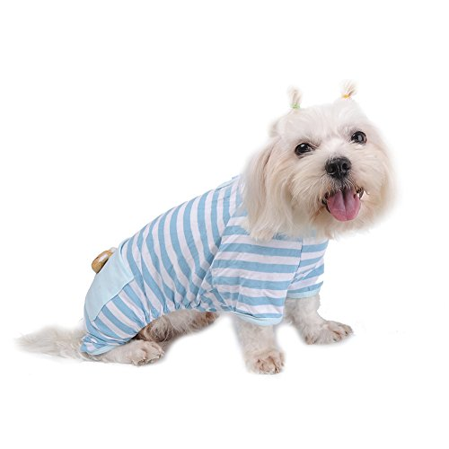 Pet Dog Pajamas Soft Cotton Shirt Jumpsuit Cute Overall Doggy Cat Strip Clothes Apparel for Play Sleep