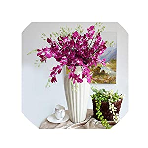 crystal004 1Pc Artificial Orchid Flowers Branch Silk Flower Butterfly Orchid for Home Wedding Dining Table Decor Fake Flower A1453,A14-4 40