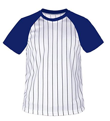 myglory77mall Crewneck Pinstripe Baseball Raglan Coolmax Dryfit tshirts Jersey US XS(S tag) Cobalt