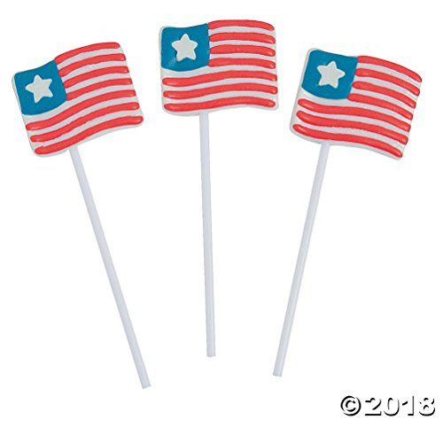 Frosted Flag Sucker Lollipop ~ Patriotic American Flag Red, White, Blue (12)