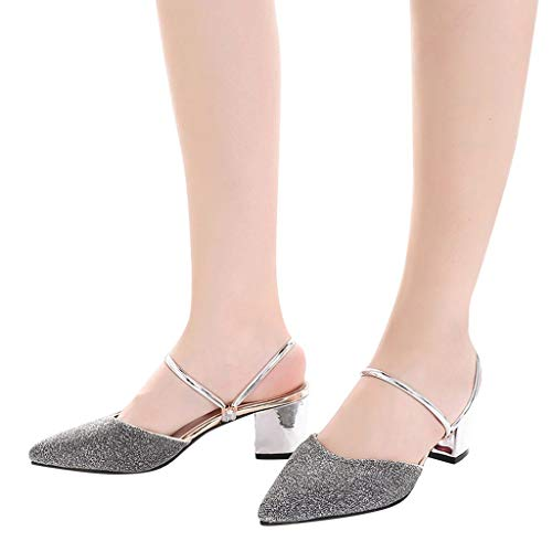 Alto Tacco Donna Sandali Pantofole Bhydry Casual Moda A Punta Scarpe Argento Paillettes W4TxW0wqB6