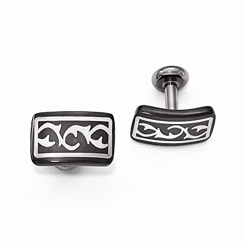 - Edward Mirell Black Ti and Sterling Silver Polished Thorn Cufflinks