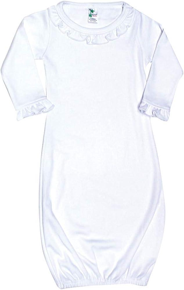 Laughing Giraffe Baby Blank Long Sleeve Ruffle-Trim Sleeper Gown White (0-3 Months -3807)