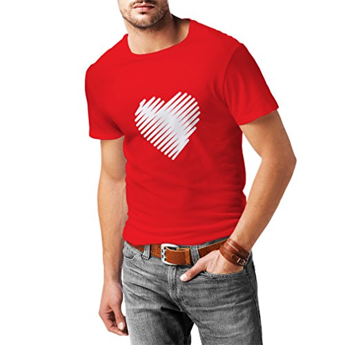 T shirts for men Stylish Heart, I love you gifts Valentines day outfits (XX-Large Red White) (Naughty School Girl Outfit Ideas)