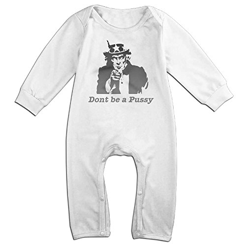 Kamici Baby Dont Be A Pussy Long Sleeve Romper Suit Climb Clothes White 6 (Mavis Costume For Toddlers)