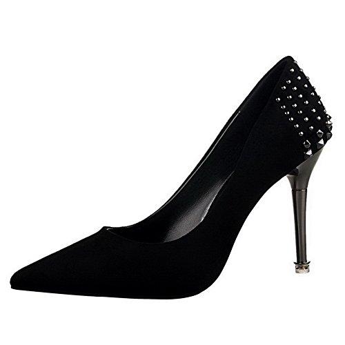VogueZone009 Damen Hoher Absatz Eingelegt Ziehen auf Mattglasbirne Spitz  Zehe Pumps Schuhe Schwarz