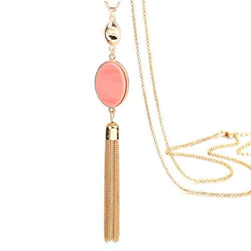 Fsmiling Gold Tone Chain Oval Pink Stone Tassel Pendant Long Tassel Necklace for Women Fashion Jewelry (Gold Tone Oval Necklace)