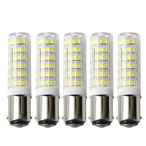 (BA15D LED Bulbs, 120V 5W Equivalent 50W Halogen Bulbs, Dimmable Double Contact Bayonet Base T3/T4, Sewing Machine Lamp 5-Pack (Daylight White))